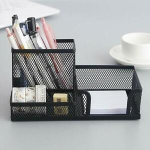 Metal Mesh Desk Organizer Stationery Compartment Pen Stand For Office Stationary