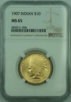 1907 Indian $10 Eagle Gold Coin NGC MS-65 Beautiful Gem BU UNC
