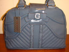 NWT GUESS BELICIA BLUE BOX SATCHEL HANDBAG 100% AUTHENTIC
