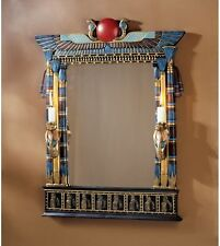 "24.5"" Ancient Egyptian Revival Decorative Wadjet Mirror Two Cobra Candle Holders"