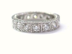 Platinum Milgrain Round Cut NATURAL Diamond Eternity Band Ring Size 6 1.75Ct