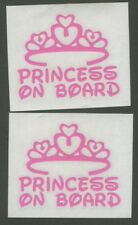 "2x *PRINCESS ON BOARD 4"" Pink Decals Windows, Cars, Vans, Computers or Wherever"
