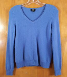 TALBOTS Size P XS Blue VNeck Cashmere Pullover Sweater Top
