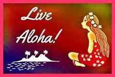 *LIVE ALOHA* MADE IN HAWAII METAL SIGN 8X12 HULA DANCER MAHALO HAWAIIAN WELCOME