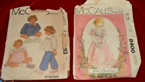 vtg 1983 McCall's Little Darlings Sewing Patterns  #8400 + McCalls 7383 CUT