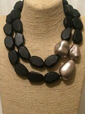Womens Ladies Statement Chunky Big Large BLACK Silver Bead Beaded Wood Necklace