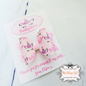 Girls Party Goody Bag Filler Unicorn Hair Bow Clip Personalised Backing Card Lot