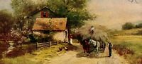 Haying Time Country Scene Horse Team Hay Wagon Vintage Postcard BB1