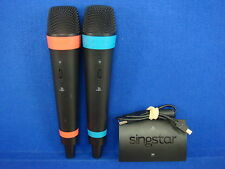 Ps3 PS4 WIRELESS PAIR OF SINGSTAR MICROPHONES Official 2 Mics +USB Hub Receiver