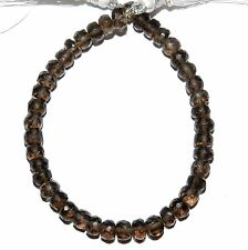 """NG2197f Smoky Quartz 4x2mm-5x3mm Hand-Cut Faceted Rondelle Gemstone Beads 6"""""""