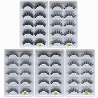 5Pairs Handmade 100% Real Mink 3D False Eyelashes Cross Thick Long Eye Lashes UA