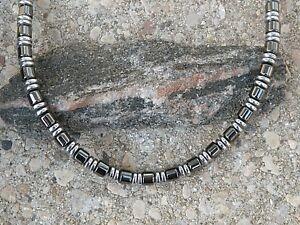 Men's Women's Black n Silver 100% Magnetic Hematite Bracelet Anklet Necklace