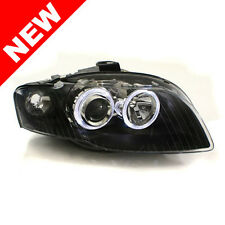 06-08 Audi A4 B7 E-Code Angel Eye Projector Headlights - Black w/ Clear Corners