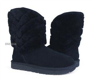 UGG Tania Black Fur Cuff Suede Boots Womens Size 9 *NIB*