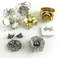 Metal Flower BROOCHES BRACELETS EARRINGS Rose Grapes Rhinestone Beads 9Pcs T699