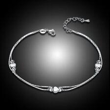 Wedding Bride Ankle Bracelet 925 Silver Double Chain heart shape dangle Anklet