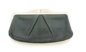 HOBO Intl Hayward Dark Green Convertible Leather KissLock Clutch Handbag Purse