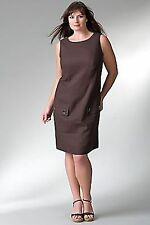 LANE BRYANT PLUS SIZE LINEN BLEND DROP WAIST DRESS 26 BROWN SALE