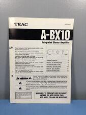 TEAC A-BX10 Manual Operating Instructions Guide Handbook
