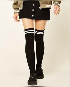 New Sexy Medias Black White Striped Long Socks Women Over Knee Thigh High Over