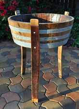 1/4 Wine Oak barrel planter With Legs/ Handmade