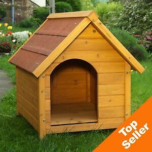 Insulated Dog Kennel House WeatherProof Easy Clean Wooden Outdoor Warm House