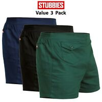 Mens Stubbies Original Work Short Shorts 3 PACK Elastic Back Cotton Drill SE2010