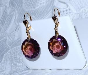 41cts Ametrine Earrings Natural Bolivia Purple Golden stones 14kt gold leverback
