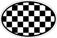 Autocollant sticker ovale oval drapeau code pays damier checkered