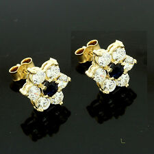 9ct Yellow Gold Real Sapphire Earrings surrounded by cubic zirconias