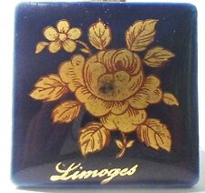 PIECE UNIQUE LIMOGES 1 PLAQUE PORCELAINE LIMOGES 33 mm BLEU DE FOUR - LA ROSE