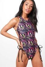 Boohoo Brazil Snake Print Extreme Leg Swimsuit Multi Size UK 10 DH084 AA 20