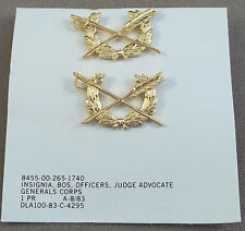 US Army ( JAG ) Judge Advocate Generals Corps Officer Collar Insignia / NOS Pair