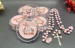 12-Communion Favors Rosaries Scented Pink Party Recuerdos de Comunnion Rosario