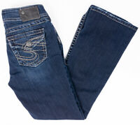 Silver Suki Surplus Bootcut Womens Jeans Dark Wash Button Flap Pockets Sz 25/30