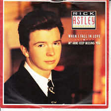 """RICK ASTLEY  When I Fall In Love PICTURE SLEEVE 7"""" 45 record NEW + jukebox strip"""