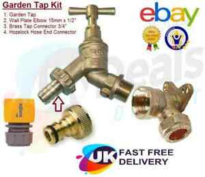 """Outside Garden Tap With Wall plate, Hozelock Hose end , Brass 3/4"""" Connector Kit"""