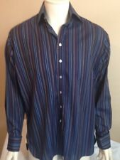 Aquascutum shirt vintage size 14.5. Double cuff. Bengal stripe navy blue