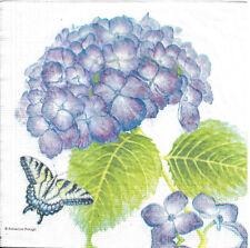 Lot de 4 Serviettes en papier Hortensia & Papillon Decoupage Collage Decopatch