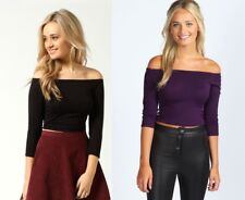 Boohoo Shirley Off The Shoulder 3/4 Sleeve Crop Top - Set of 2 - Black/Grape - S