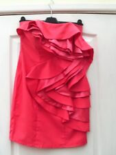 LIPSY CORAL PINK STRAPLESS CONTRAST SATIN TRIM WATERFALL RUFFLE FRONT DRESS - 10