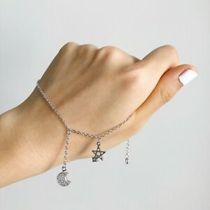 Gold Plated Star Moon Anklet 24CM Perfect Gift Fashion Jewellery