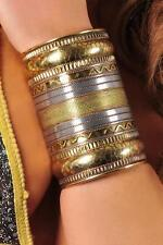 ETHNIC TRIBAL GYPSY EGYPTIAN ARABIAN Brass Metal WOMENS WRIST CUFF VAMBRACE New