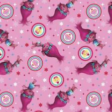 Springs Creative Fabric Trolls Poppy Cupcake Toss Pink HALF METRE