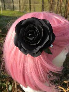 Black big rose hair clip Gothic flower floral pinup rockabilly boho beach party
