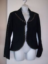 Cache Lined Black Jacket~HOOK & EYE TRIM AND CLOSURE~VERY UNIQUE SZ. 4~NWOT