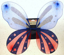 American Flag Fairy Wings Red and Blue Patriot Holiday Veterans 4th of July