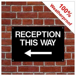 Reception this way sign with left arrow 9054