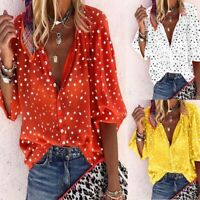Deep V-neck Women Printing Tops Fashion Blouse Wave point Shirt 3/4 Sleeve 2019