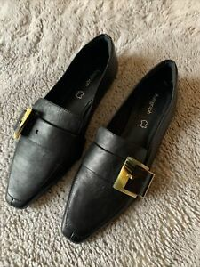 Autograph Ladies Black Leather Flat Slip On Shoes With Buckle Size 6 BNWT
